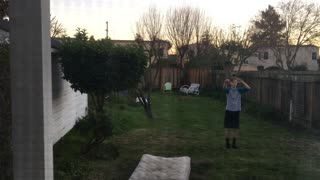 Teal baseball shirt backflip fail - Video