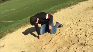 Black sweater sand flip faceplant - Video