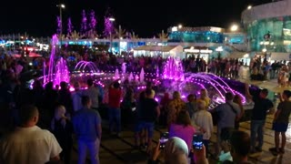 Tourists Gathering Around Wonderful Old Magical Fountain