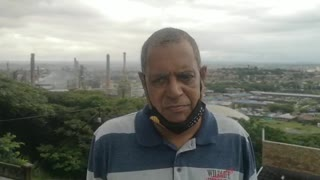 Desmond D'sa speak for community after a massive fire is raging at the Engen refinery
