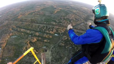 POV footage of extreme BASE jumping session