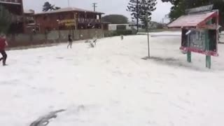 Sarina Beach During Hurricane Debbie - Video