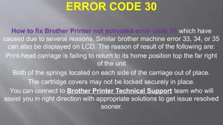 How to Fix Brother Printer not activated Error Code 30 - Video