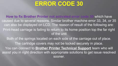 How to Fix Brother Printer not activated Error Code 30