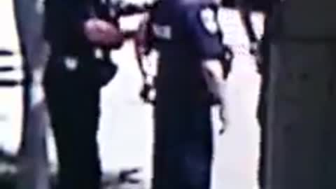 Cop chokes perp after he spits on him