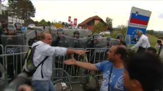 Tensions run high at a Croatia, Slovenia border crossing - Video