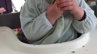 Baby falling asleep in his food - Video