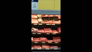 Birds Eating Meat in the Chicopee Walmart. This Is Disgusting! - Video