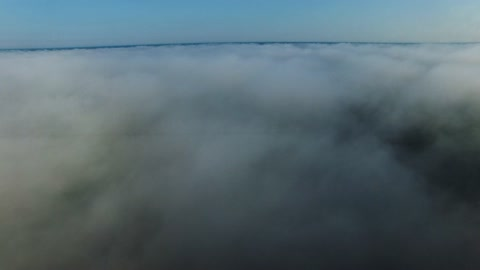 Drone journey above fog and clouds gives breathtaking view