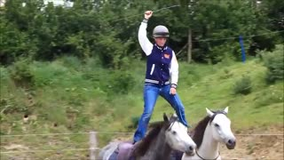 Lady stands on horses' backs in incredible display of riding - Video