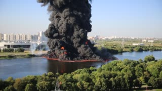 Oil Pipeline Fire In The Moscow River - Video