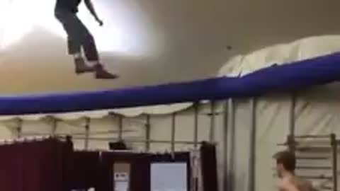Training for the circus, backflips...