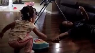 Collab copyright protection - girl drops toy piano on brother - Video