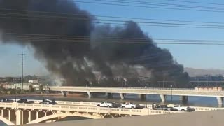 Bridge on fire in Tempe, Arizona