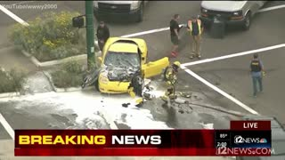Yellow Corvette Gets Destroyed During Police Pursuit... PIT...K9...Fire