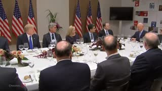President Trump has dinner with European Business Leaders - Video