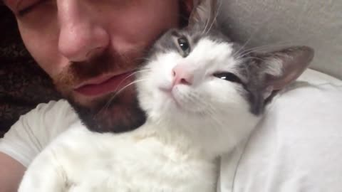 Every Morning, This Adorable Kitty Greets His Human In The Sweetest Way Possible