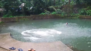Boys enjoying jumping in water at home  - Video