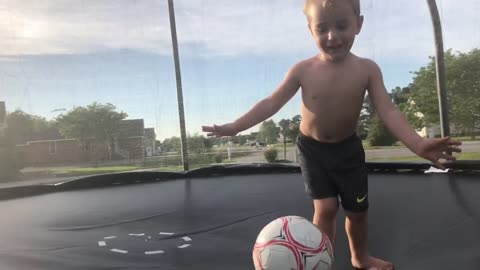 Energetic Toddler Throws Ball In Dads Face While Trying To record Memories