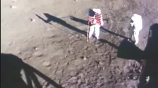 Neil Armstrong Buzz Aldrin Place American Flag On The Moon