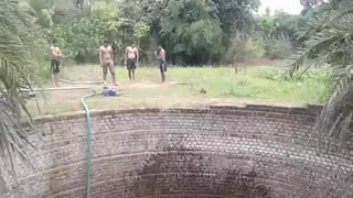 Indian Swimming in deep well  - Video