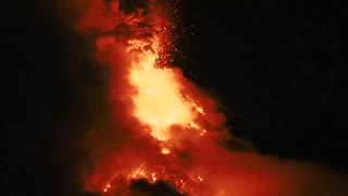 Night Time Volcanic Eruption - Video