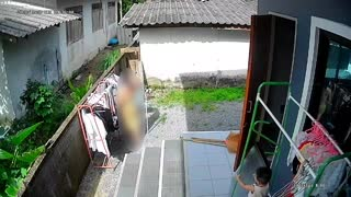 Mother Shocked When Son Slips Down Steps