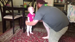 Crazy Dad Sings and Dances with Laughing 1 Year Old Daughter  - Video