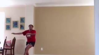 Vibes girl in red shirt dances slips falls - Video
