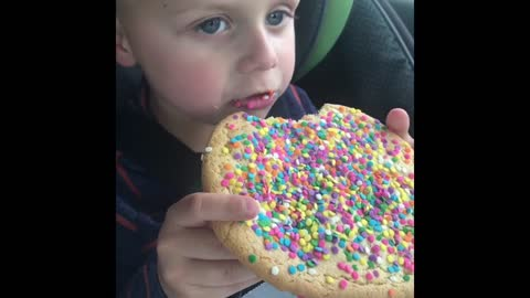 Watch This Kid Get Excited Over A Huge Cookie
