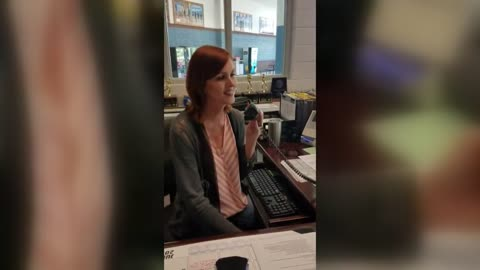 Receptionist Sings On Last Day Of School