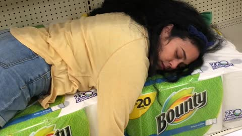 "Black Friday shopper decides to take a ""nap"" inside the store!"