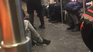 Short hair girl headphones denim jacket dancing in subway - Video
