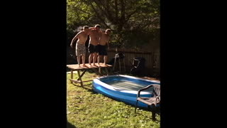 Jump Off Picnic Table Ends In Old Guys Faceplanting - Video