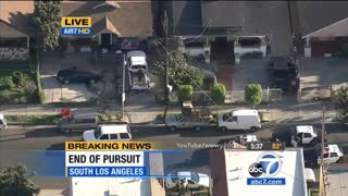 Police Pursuit In Los Angeles Ends with Suspect Drawing On Police...