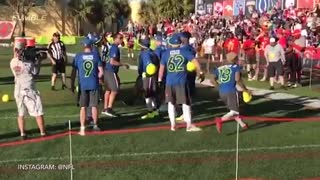 Ezekiel Elliot Does Soccer Celebration After NFC Pro-Bowl Dodgeball Win - Video