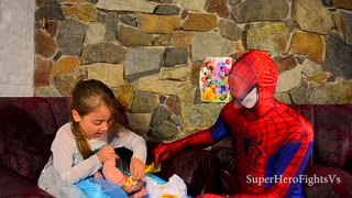 Elsa Frozen Baby with Poop Princess Spiderman Venom Super Hero In Real Life IRL - Video