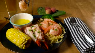 Seafood with warm butter