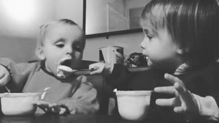 Cute twins feed each other