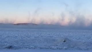 """Sea Smoke"" eerily rises over Lake Superior"