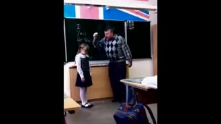 Russian girl kicked teacher's balls