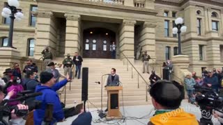 Protests at Wyoming Capitol against Republican Liz Cheney for impeachment vote