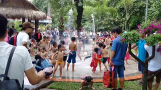 The children enjoy bathing in the Zoo of Ho Chi Minh City, Viet Nam - Video