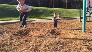 Little Boy Slams Into Swing Face First Then Gets Thrown To The Ground - Video