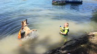 Toddler and German shepherd squirt gun fight - Video