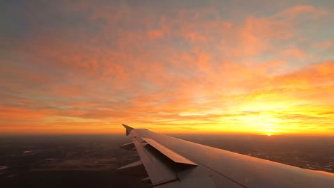 Landing in Charlotte airport during a beautiful sunrise