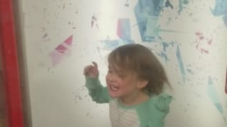Daughter loving the hurricane machine at a local playhouse  - Video