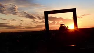 photo frame sunset tractor