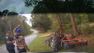 Deputy stuns man pulled over on stolen tractor - Video