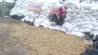 Motorcycle Crashes into Protective Barrier - Video